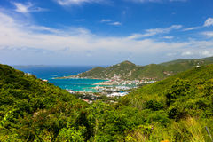 Tortola aerial. Aerial view of Road town on Tortola the capital of British Virgin islands stock photo