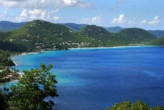 Tortola Hills. The view of Tortola island landscape, British Virgin Islands stock images