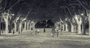 Tortosa, Catalonia, Spain - Children playing at Park of Teodor Gonzàlez Stock Image