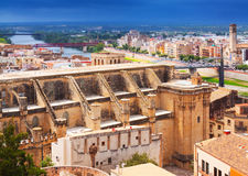 Tortosa with Cathedral from Suda castle Royalty Free Stock Photo