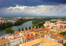 Tortosa with Ebro river from Suda castle Royalty Free Stock Image