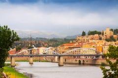 Tortosa.   Ebro  river  and Suda Castle Stock Image
