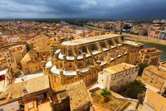 Tortosa met Kathedraal van Suda-kasteel Stock Foto