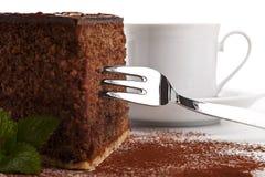 tortowa czekolada odizolowywający kawałek smakowity Obraz Stock