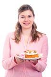 tortowa marchwiana szczęśliwa różowa kobieta Zdjęcie Stock