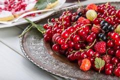 tortowa porzeczkowa czerwona gąbka Talerz z Asortowanymi lato jagodami, malinki, truskawki, wiśnie, rodzynki, agresty Obraz Royalty Free