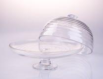 tortowa stojaka lub szkła tortowa taca na backgeound Fotografia Stock