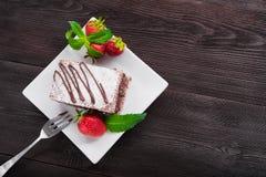 tortowe czekoladę truskawki Fotografia Royalty Free