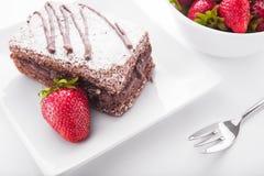 tortowe czekoladę truskawki Obraz Stock
