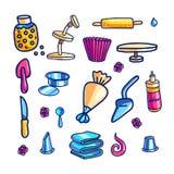 Tortowi dekoruje narzędzia wręczają patroszone kolor ilustracje ustawiać ilustracja wektor
