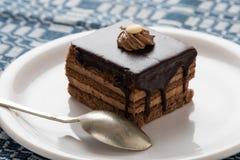 tortowy czekolady talerza biel Zdjęcie Royalty Free