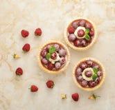 Tortowy kosz z świeżymi malinkami i kremowym owocowym deserem Zdjęcia Stock