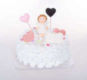 tortowy lub Ślubny tort na tle Zdjęcia Stock
