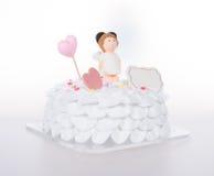 tortowy lub Ślubny tort na tle Obrazy Stock