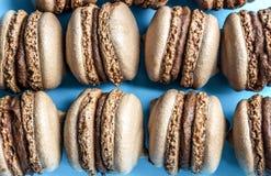 Tortowy macaron lub macaroon na błękitnym tle, migdałowi ciastka, odgórny widok Obraz Royalty Free