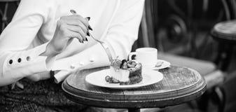 Tortowy plasterek na bielu talerzu Tort z kremowym wy?mienicie deserem apetyta poj?cie Deser kobieta i obraz royalty free