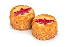 tortowy serowy czereśniowy wyśmienicie deserowy dżemu talerza biel Fotografia Stock