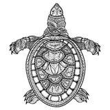 tortue d'isolement Tortue stylisée de tribal de Zentangle griffonnage illustration libre de droits