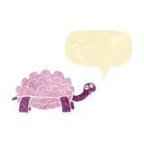 tortue de bande dessinée avec la bulle de la parole Photographie stock