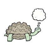 tortue de bande dessinée avec la bulle de pensée Photos stock
