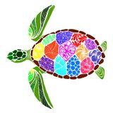 Tortue de mer dans le style de zentangle Photos stock
