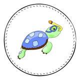 Tortue de prise d'air d'isolement sur le fond blanc Illustration de bande dessinée de tortue de mer Images libres de droits