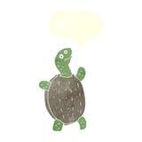tortue heureuse de bande dessinée avec la bulle de la parole Image stock