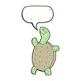 tortue heureuse de bande dessinée avec la bulle de la parole Photographie stock