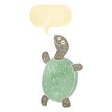 tortue heureuse de bande dessinée avec la bulle de la parole Images libres de droits