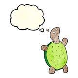 tortue heureuse de bande dessinée avec la bulle de pensée Photos libres de droits