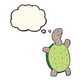 tortue heureuse de bande dessinée avec la bulle de pensée Images stock