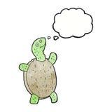 tortue heureuse de bande dessinée avec la bulle de pensée Image libre de droits