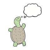 tortue heureuse de bande dessinée avec la bulle de pensée Photographie stock libre de droits