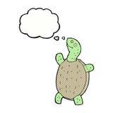 tortue heureuse de bande dessinée avec la bulle de pensée Photo stock