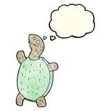 tortue heureuse de bande dessinée avec la bulle de pensée Photo libre de droits