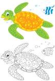 Tortue marine et poissons Photo libre de droits