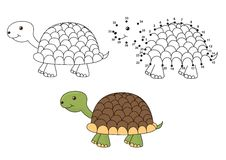 Tortue mignonne de bande dessinée Coloration et point pour pointiller le jeu éducatif pour des enfants Image stock