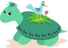 Tortue verte avec l'oiseau bleu illustration de vecteur