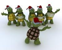 Tortues chantant des hymnes de louange de Noël Images libres de droits