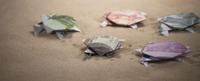 Tortues d'origami des billets de banque Photo libre de droits