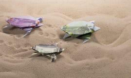 Tortues d'origami des billets de banque Image libre de droits