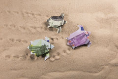 Tortues d'origami des billets de banque Photo stock