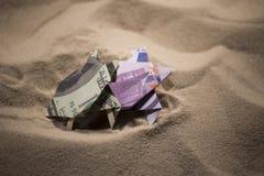 Tortues d'origami des billets de banque Images libres de droits