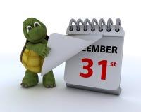 Tortuga con un calendario Imagen de archivo libre de regalías