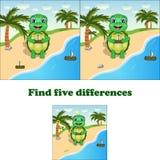 Tortuga de las diferencias del hallazgo 5 del ejemplo del vector ilustración del vector
