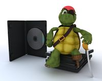 Tortuga del pirata con CD y software de DVD Fotografía de archivo