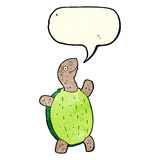 tortuga feliz de la historieta con la burbuja del discurso Foto de archivo libre de regalías