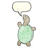 tortuga feliz de la historieta con la burbuja del discurso Foto de archivo