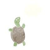 tortuga feliz de la historieta con la burbuja del pensamiento Imagenes de archivo
