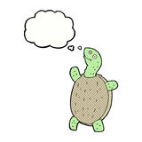 tortuga feliz de la historieta con la burbuja del pensamiento Foto de archivo